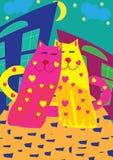 Chats lumineux d'amour Photographie stock libre de droits