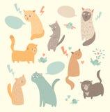 Chats mignons, couleur de vintage Image stock