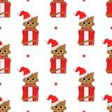 Chats mignons de bande dessinée avec des cadeaux de Noël Modèle sans couture de vecteur sur le fond blanc illustration de vecteur