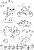 Chats mignons de dessin animé : page de coloration Photo libre de droits