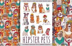 Chats mignons et chiens d'animaux familiers de hippie réglés Photo stock