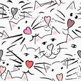 Chats moustache et nez sous forme de coeur, yeux et oreilles Photographie stock