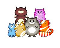 Chats multicolores de Kawaii photo stock