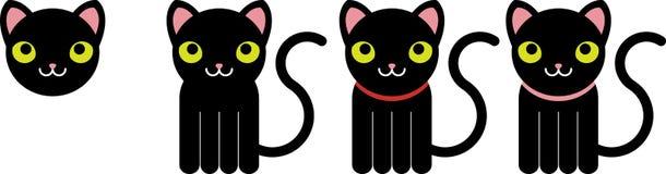 chats noirs illustration de vecteur