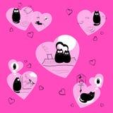 Chats noirs d'amour dans le rose illustration libre de droits