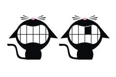 Chats noirs de sourire Images stock