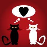 Chats noirs et blancs dans l'amour avec le coeur illustration de vecteur