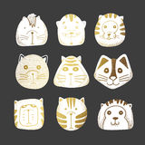 Chats réglés du griffonnage mignon illustration de vecteur