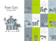 Chats rayés drôles Calendrier 2018 de conception illustration stock