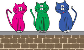 Chats sur le mur Illustration de Vecteur
