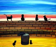 Chats sur un art de mur illustration stock