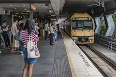 Chatswood Train Station, Sydney Australia. Commuters ready to board the metropolitan train at Chatswood Train Station, Sydney Australia stock photo