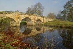 Chatsworth Bridge reflected Royalty Free Stock Images