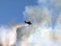 Chatsworth Brush Fire - Fire Department Helicopter Royalty Free Stock Photography