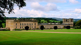 Chatsworth gardens view. Chatsworth house and brilliant view from gardens that are situated in the back Royalty Free Stock Photography