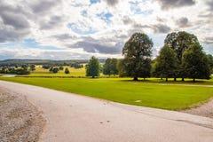 Chatsworth husDerbyshire Peakdistrict jordning arkivbilder