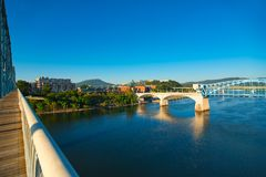 Chattanooga river view. View of Chattanooga and Lookout Mountain from the restored Walnut Street pedestrian bridge over the Tennessee River Royalty Free Stock Images