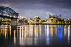 Chattanooga Tennessee. Chattanooga, Tennessee, USA downtown across the Tennessee River Stock Photo