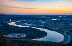 Chattanooga Tennessee Skyline e Tennessee River fotografie stock libere da diritti