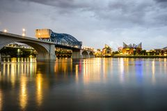 Chattanooga, Tennessee, USA. City skyline at dusk royalty free stock photos