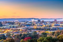Chattanooga, Tennessee, USA downtown city skyline at dusk. From above in early autumn royalty free stock images