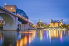 Chattanooga, Tennessee, USA downtown skyline. On the Tennessee River at dusk stock image