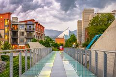 Chattanooga, Tennessee, USA Downtown. Walking path and cityscape at twilight stock image
