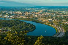 Chattanooga vista. View of Chattanooga, Tennessee, from Lookout Mountain in early evening sunlight Royalty Free Stock Photos