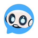 Chatter Bot Cute Robot Icon In Speech Bubble Icon Concept Of Chatbot Or Chat BotTechnology. Flat Vector Illustration Royalty Free Stock Photo