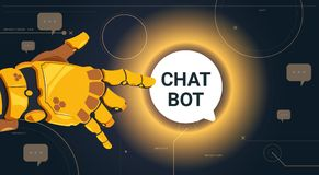 Chatter Service App Concept Robot Hand Touch Chat Bubble, Chatterbot Technical Support Technology Concept. Flat Vector Illustration Stock Photos