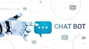 Chatter Service App Concept Robot Hand Touch Chat Bubble Template Banner With Copy Space, Chatterbot Technical Support. Technology Concept Flat Vector Royalty Free Stock Image