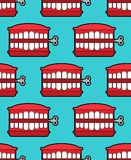 Chatter teeth toy pattern seamless. April Fools Day ornament. Jaw toy background vector. Chatter teeth toy isolated. April Fools Day symbol. Jaw toy vector royalty free illustration
