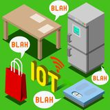 The Chatter of Things - Isometric Internet of Things. Internet of Things Isometric Representation - The Chatter of Things - IoT Domotics Stock Photos