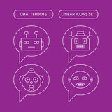 Chatterbots linear icons set. Chat bot or chatterbot Stock Photo