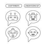 Chatterbots linjär symbolsuppsättning Fotografering för Bildbyråer