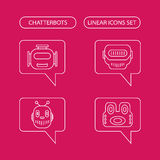 Chatterbots linjär symbolsuppsättning Royaltyfri Foto