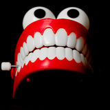 Chattering teeth toy from the front looking up Stock Photos