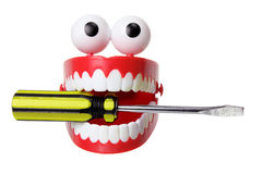 Chattering Teeth Toy with Screwdriver Royalty Free Stock Images
