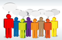 Chatters. Several colorful figures chatting socially Royalty Free Stock Photography