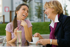 Chatting in Cafe Stock Photo