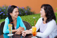 Chatting in the cafe Royalty Free Stock Images