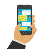 Chatting with chatbot on phone. vector illustration