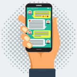 Chatting with chatbot on smart phone, online conversation. Chatting with chatbot on phone, online conversation with texting message flat vector concept and royalty free illustration