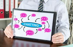 Chatting concept on a clipboard royalty free stock images