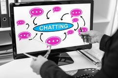 Chatting concept on a computer monitor stock images