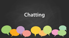 Chatting concept illustration white text with colourful callouts and black background Royalty Free Stock Images