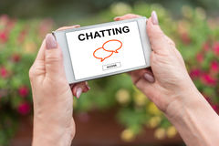 Chatting concept on a smartphone royalty free stock photo