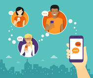 Chatting with friends via messenger app. Human hand hold a smartphone and sending messages to friends via messenger app. Flat illustration Stock Photo