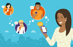 Chatting with friends via messenger app. Smiling african woman holds the smartphone in her hand and sending messages to friends via messenger app. Flat Royalty Free Stock Image