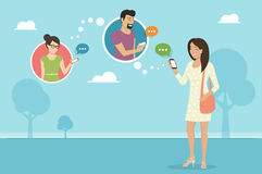 Chatting with friends via messenger app. Smiling woman holds the smartphone in her hand and sending messages to friends via messenger app. Flat illustration of Royalty Free Stock Image